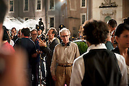 Roma 9 Agosto  2011.Il set del  film The Bob Decameron di Woody Allen, a Piazza della Repubblica.Woody Allen sul set del film, alle sue spalle Roberto Benigni.