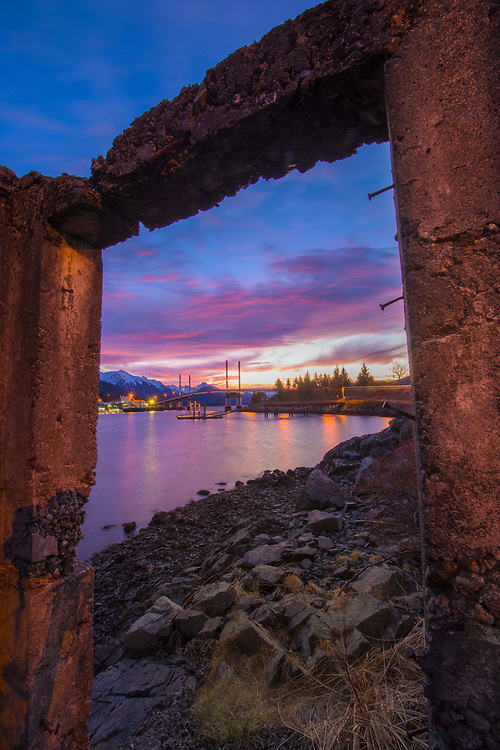 A view through remnants of a WWII bunker in sitka Alaska