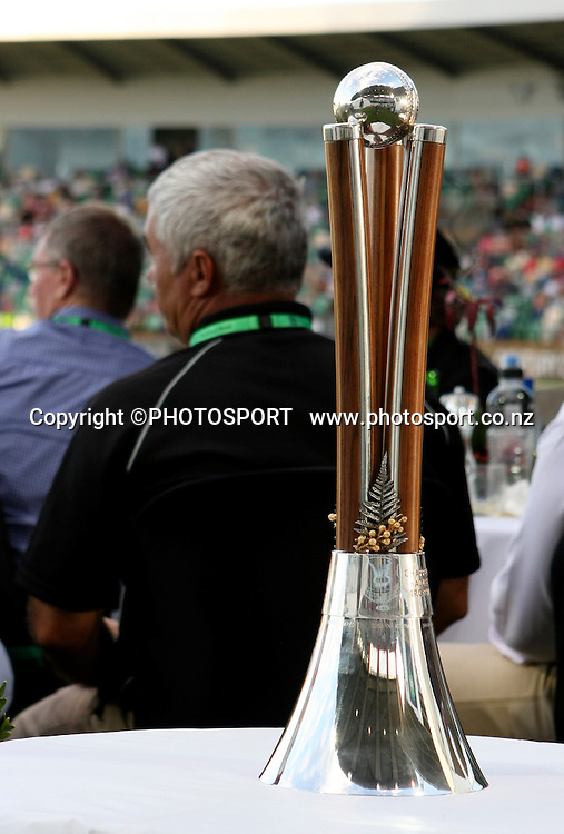The Trophy on display at the National Bank Marquee. New Zealand Black Caps v Australia. 1st ODI, Chappell-Hadlee Trophy Series. McLean Park, Napier. Wednesday 03 March 2010  Photo: John Cowpland/PHOTOSPORT