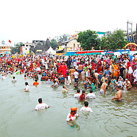 Kumbhmela third shahi Snan, despite heavy rainfall more than one million people bathed today in holy river Godavari, Nashik, India.