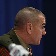Master Sergeant Bryan B. Battaglia addresses the media after a USA Women's National Team Exhibition game between Red and White Thursday, Sept. 11, 2014 at The Bob Carpenter Sports Convocation Center in Newark, DEL