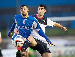 Cowdenbeath's Kane Hemmings and Falkirk's Jonathan Flynn.<br /> half time : Cowdenbeath 0 v 0 Falkirk, Scottish Championship game today at Central Park, the home ground of Cowdenbeath Football Club.<br /> &copy; Michael Schofield.