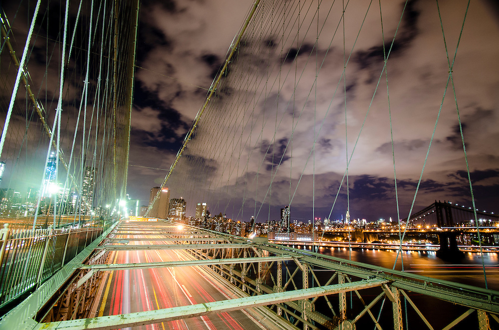 Light Trails on the Brooklyn Bridge
