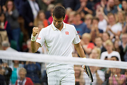 LONDON, ENGLAND - Wednesday, June 29, 2016: Novak Djokovic (SRB) celebrates his 6-4, 6-3, 7-6 (5) victory during the Gentlemen's Single 2nd Round match on day three of the Wimbledon Lawn Tennis Championships at the All England Lawn Tennis and Croquet Club. (Pic by Kirsten Holst/Propaganda)