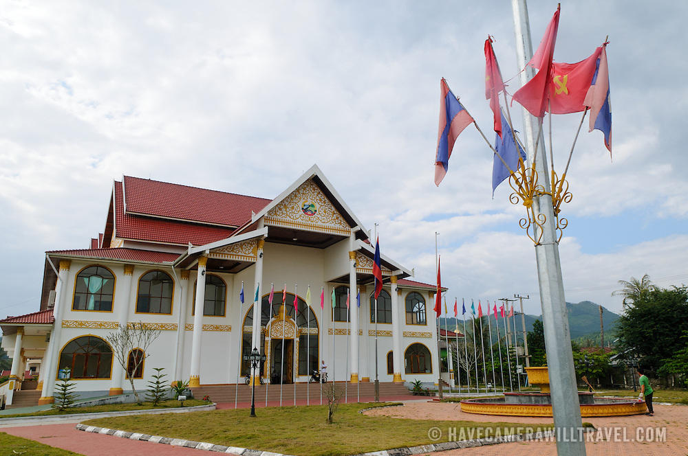 The Luang Namtha Museum in downtown Luang Namtha. Housed in a new building that is mostly devoted to conference meeting space, the small museum consists of a single large room with local artifacts ranging from ethnic costumes to revolutionary propaganda and military equipment.