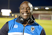 Bayo Akinfenwa of AFC Wimbledon during the Sky Bet League 2 match between Northampton Town and AFC Wimbledon at Sixfields Stadium, Northampton, England on 1 March 2016. Photo by Dennis Goodwin.
