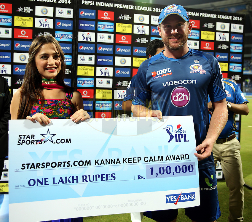 Ben Dunk of the Mumbai Indians recives the Starsports.com Kanna Keep KAAM award during the presentation of the  match 22 of the Pepsi Indian Premier League Season 2014 between the Mumbai Indians and the Kings XI Punjab held at the Wankhede Cricket Stadium, Mumbai, India on the 3rd May  2014<br /> <br /> Photo by Sandeep Shetty / IPL / SPORTZPICS<br /> <br /> <br /> <br /> Image use subject to terms and conditions which can be found here:  http://sportzpics.photoshelter.com/gallery/Pepsi-IPL-Image-terms-and-conditions/G00004VW1IVJ.gB0/C0000TScjhBM6ikg