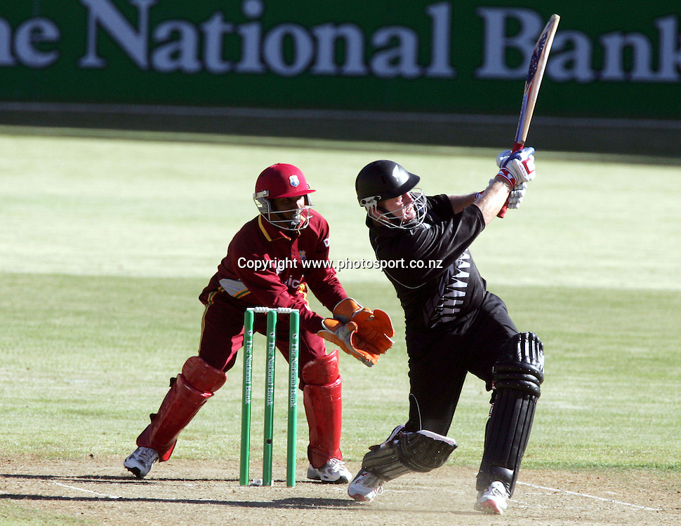 Scott Styris in action during the 1st ODI cricket match between the West Indies and the New Zealand Black Caps at Westpac Stadium, Wellington, New Zealand, Saturday, February 18 2006. New Zealand won the match by 81 runs. Photo: Hannah Johnston/PHOTOSPORT<br /><br /><br />146362