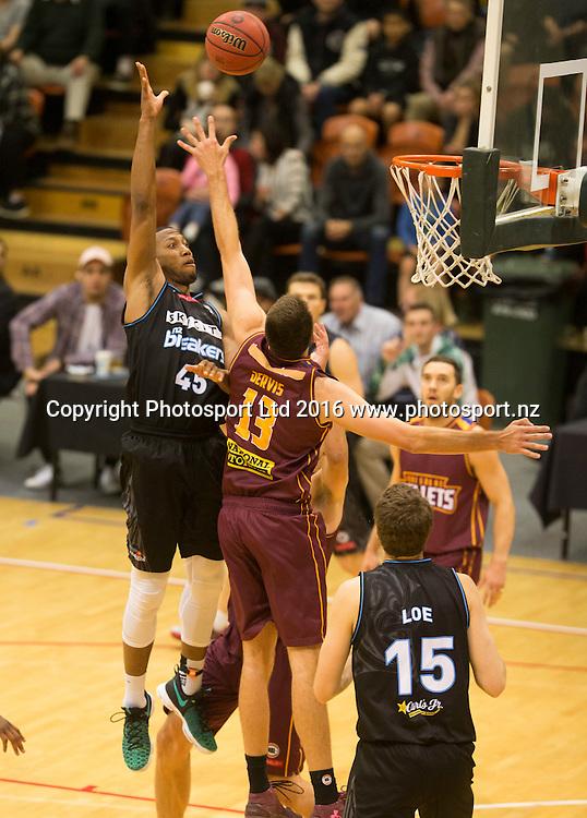 Breaker's Akil Mitchell puts up a shot. NBL Preseason basketball, NZ Breakers v Brisbane Bullets, PG Arena, Napier, New Zealand. Thursday 16 September, 2016. Copyright photo: John Cowpland / www.photosport.nz