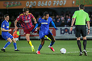 AFC Wimbledon defender Terell Thomas (6) battles for possession with Ipswich Town midfielder Emyr Huws (44) during the EFL Sky Bet League 1 match between AFC Wimbledon and Ipswich Town at the Cherry Red Records Stadium, Kingston, England on 11 February 2020.