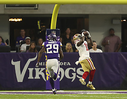 August 27, 2017 - Minneapolis, MN, U.S.A - San Francisco 49ers wide receiver Marquise Goodwin (11) caught a 46 yard touchdown pass in the first quarter while out in front of Minnesota Vikings cornerback Xavier Rhodes (29).   ]  JEFF WHEELER • jeff.wheeler@startribune.com ....The Minnesota Vikings met the San Francisco 49ers in their third game of the NFL preseason Sunday night, August 27, 2017 at U.S. Bank Stadium in Minneapolis. (Credit Image: © Jeff Wheeler/Minneapolis Star Tribune via ZUMA Wire)