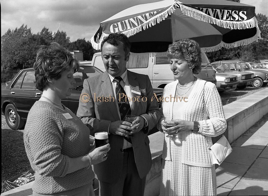 Galway Oyster Festival..1982.09.09.1982.09.09.1982.9th September 1982..Group picture taken at .The Festival was held on the banks of the Shannon at Portumna Co.,Galway..It was held in the picturesque new marina. The event was sponsored by Guinness. Emerald Star line were also represented.Having a break were Mrs.,Sandra Lefroy,Emerald Star line, Mr. John O'Flynn,Area Representative Guinness Group, and Ms. Ann Flanagan,Secretary , Galway Oyster Festival.