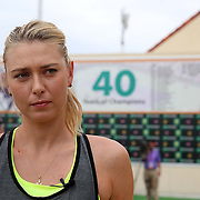 Maria Sharapova takes part in the WTA All-Access Hour at the Indian Wells Tennis Garden in Indian Wells, California Tuesday, March 11, 2015.<br /> (Photo by Billie Weiss/BNP Paribas Open)