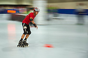 SO Poland athlete Emil Drozd in action while roller skating competition during fifth day of the Special Olympics World Games Los Angeles 2015 on July 29, 2015 at Los Angeles Convention Centre in Los Angeles, USA.<br /> <br /> USA, Los Angeles, July 29, 2015<br /> <br /> Picture also available in RAW (NEF) or TIFF format on special request.<br /> <br /> For editorial use only. Any commercial or promotional use requires permission.<br /> <br /> Adam Nurkiewicz declares that he has no rights to the image of people at the photographs of his authorship.<br /> <br /> Mandatory credit:<br /> Photo by &copy; Adam Nurkiewicz / Mediasport