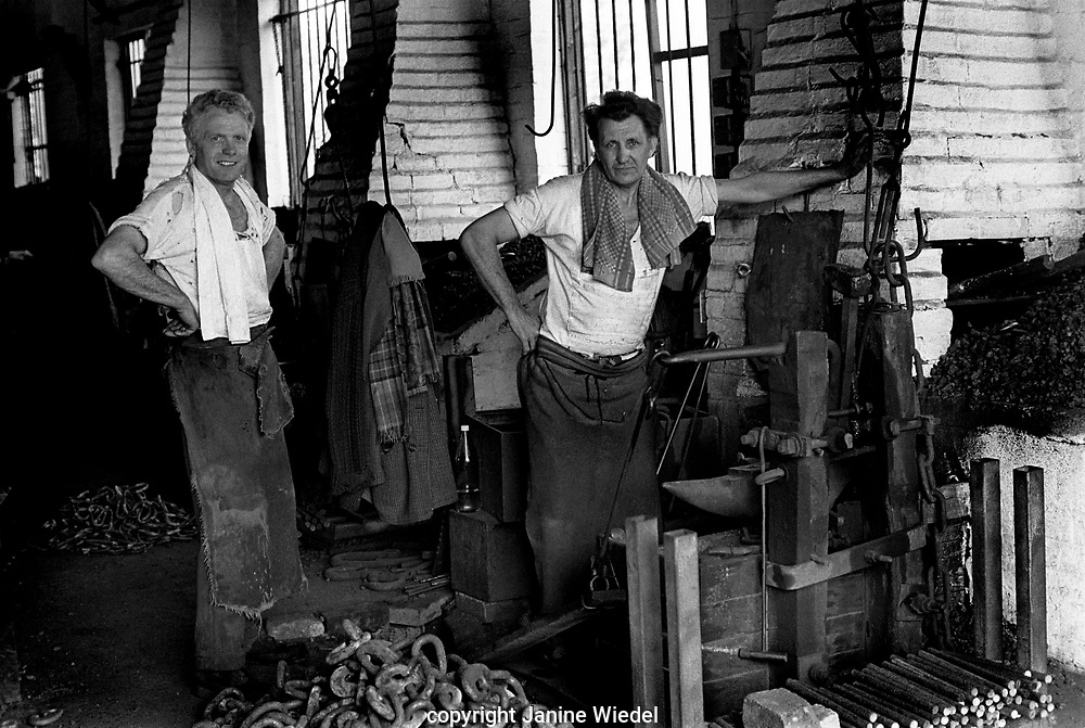 Clarrie Johnson and Eric Attwood were the 2 remaining hand chainmakers (making chain in traditional method) inThe Black Country, West Midlands  UK in 1977.