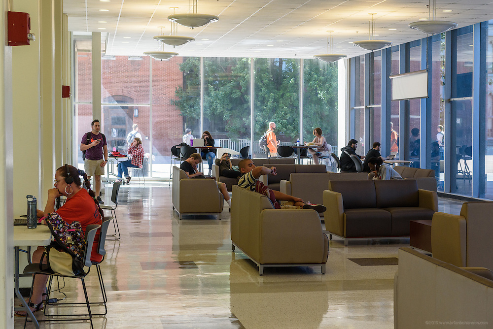 Students rest and study between classes in the lobby of Hartford Hall on First Street on the Jefferson Community & Technical College downtown campus Thursday, Sept. 22, 2016 in Louisville, Ky. (Photo by Brian Bohannon)