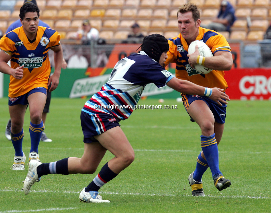 Rowan Baxter of Mt Albert in action during the Barter Card Cup Rugby League game between Mt Albert and Otahuhu/Ellerslie at Ericsson Stadium, Auckland on Sunday 1 May, 2005. Photo: Andrew Cornaga/PHOTOSPORT<br /><br /><br />122488
