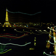 A Panoramic view of Paris at night showing the Eiffel Tower in Paris, France on April 28, 2008 Photo Tim Clayton