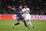 French forward Kylian Mbappe of Paris Saint Germain competes with Austrian defender David Alaba of Bayern Munich during the UEFA Champions League, Group B football match between Paris Saint-Germain and Bayern Munich on September 27, 2017 at Parc des Princes stadium in Paris, France - Photo Jean Marie Hervio / Regamedia / ProSportsImages / DPPI