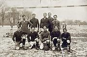 soccer team posing by goal early 1900s France