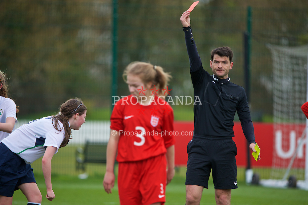 NEWPORT, WALES - Monday, April 4, 2016: England's Lucy Johnson is sent off by referee Connor Thomas against Republic of Ireland during the Final on day four of the Bob Docherty International Tournament 2016 at Dragon Park. (Pic by David Rawcliffe/Propaganda)