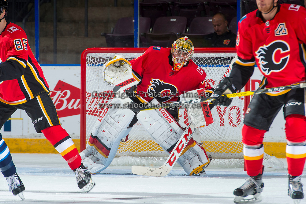 PENTICTON, CANADA - SEPTEMBER 11: Mason McDonald #72 of Calgary Flames  defends the net against the Winnipeg Jets on September 11, 2017 at the South Okanagan Event Centre in Penticton, British Columbia, Canada.  (Photo by Marissa Baecker/Shoot the Breeze)  *** Local Caption ***