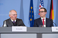"16 MAR 2017, BERLIN/GERMANY:<br /> Wolfgang Schaeuble (L), CDU, Bundesfinanzminister, und Steven Terner ""Steve"" Mnuchin (R), Fianzminister der Vereinigten Staaten von Amerika, USA, waehrend einer Pressekonferenz nach einem gemeinsamen Treffen, Bundesministerium der Finanzen<br /> IMAGE: 20170316-03-012<br /> KEYWORDS: Wolfgang Schäuble, Steve Mnuchin, Treasury secretary"