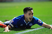 GOAL Ian Henderson celebrates opening the scoring 1-0  during the EFL Sky Bet League 1 match between Rochdale and Northampton Town at Spotland, Rochdale, England on 17 October 2017. Photo by Daniel Youngs.