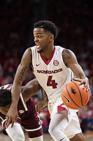 FAYETTEVILLE, AR - FEBRUARY 17:  Daryl Macon #4 of the Arkansas Razorbacks drives to the basket during a game against the Texas A&M Aggies at Bud Walton Arena on February 17, 2018 in Fayetteville, Arkansas.  The Razorbacks defeated the Aggies 94-75.(Photo by Wesley Hitt/Getty Images) *** Local Caption *** Daryl Macon