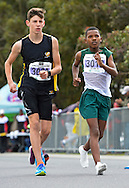 CAPE TOWN, SOUTH AFRICA - OCTOBER 08: Juan Colling of Boland and Durando Aweries of Athletics SWD (3018) in the sub youth boys 3km during the ASA 50km and Interprovincial Race Walking Championships at Youngsfield Military base on October 08, 2016 in Cape Town, South Africa. (Photo by Roger Sedres/Gallo Images)