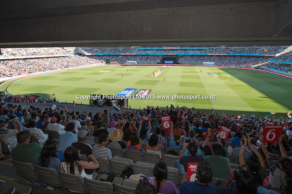General View of Eden Park during the ICC Cricket World Cup match between India and Zimbabwe at Eden Park in Auckland, New Zealand. Saturday 14 March 2015. Copyright Photo: Raghavan Venugopal / www.photosport.co.nz