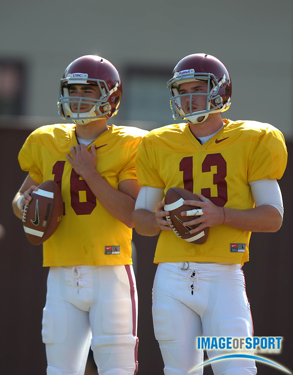 Apr 5, 2012; Los Angeles, CA, USA; Southern California Trojans quarterbacks Anthony Neyer (16), left, and Max Wittek (13) at spring practice at Howard Jones Field.