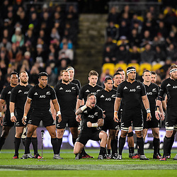 The All Blacks begin the Haka before the Investec Rugby Championship match between the New Zealand All Blacks and the Australia Wallabies at Westpac Stadium in Wellington, New Zealand on Saturday, 27 August 2016. Photo: Marco Keller / www.lintottphoto.co.nz