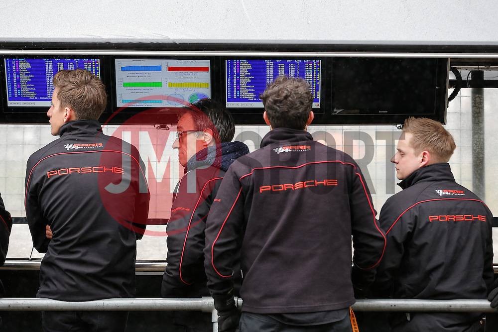 Parr Motorsport team look on during Qualifying for Dino Zamparelli | Bristol Sport Racing | #88 Porsche 911 GT3 Cup - Photo mandatory by-line: Rogan Thomson/JMP - 07966 386802 - 04/04/2015 - SPORT - MOTORSPORT - Fawkham, England - Brands Hatch Circuit - British Touring Car Championship Meeting.