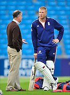 Andrew Freddie Flintoff (right) with Chairman of selectors Geoff Miller during nets at Headingley on the 16th of July 2008..England v South Africa.Photo by Philip Brown.www.philipbrownphotos.com