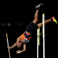 Chan Sheng Yao of National University of Singapore in action during the men's pole vault event. (Photo &copy; Lim Yong Teck/Red Sports) The 2018 Institute-Varsity-Polytechnic Track and Field Championships were held over three days in January.<br />