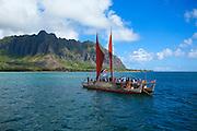 Hokulea, Sailing canoe, Kaneohe Bay, Oahu, Hawaii