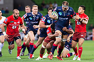 MELBOURNE, AUSTRALIA - APRIL 06: Sunwolves attempt to tackle Luke Jones of the Rebels at round 8 of The Super Rugby match between Melbourne Rebels and Sunwolves on April 06, 2019 at AAMI Park in VIC, Australia. (Photo by Speed Media/Icon Sportswire)