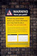Penalty fare railway warning notice