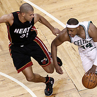 03 June 2012: Boston Celtics small forward Paul Pierce (34) drives past Miami Heat small forward Shane Battier (31) during the second quarter of Game 4 of the Eastern Conference Finals playoff series, Heat at Celtics, at the TD Banknorth Garden, Boston, Massachusetts, USA.