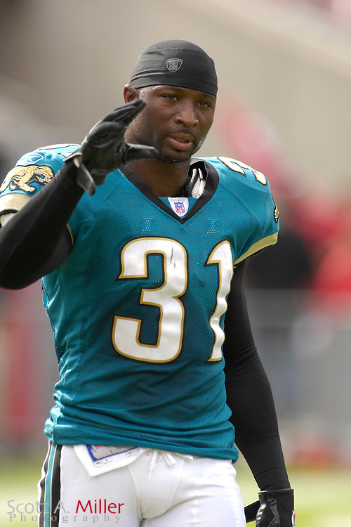 Jacksonville Jaguars defender Aaron Glenn during the Jags' game against the Tampa Bay Buccaneers at Raymond James Stadium on  Oct. 28, 2007 in Tampa, Florida.      ..©2007 Scott A. Miller