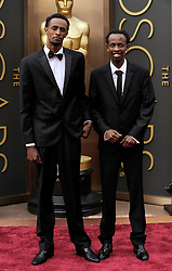 (L-R) Barkhad Abdirahman with Barkhad Abdi arriving to the 2014 Oscars at the Hollywood and Highland Center in Hollywood, California, USA,  Sunday, 2nd March 2014. Picture by Hollywood Bubbles / i-Images<br /> UK ONLY