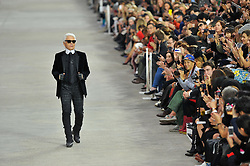 Designer Karl Lagerfeld makes an appearance after Chanel Spring-Summer 2014 Ready-To-Wear collection show held at the Grand Palais in Paris, France on October 1, 2013. Photo by Thierry Orban/ABACAPRESS.COM