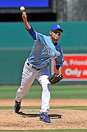 Kansas City Royals pitcher Joakim Soria (48) delivers a pitch against the Seattle Mariners in the ninth inning at Kauffman Stadium.