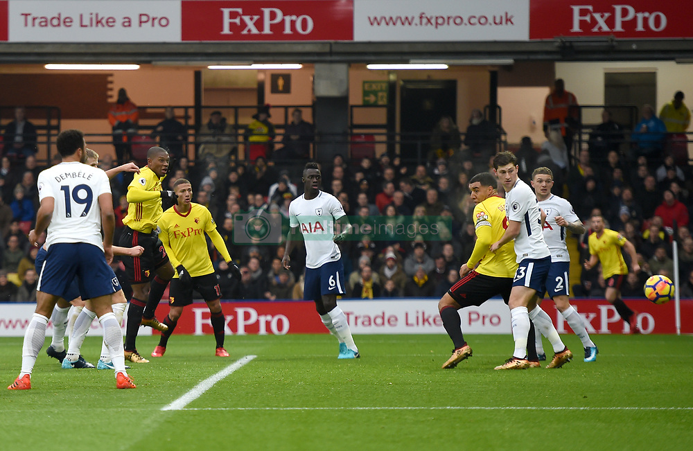 "Watford's Christian Kabasele scores his side's first goal of the game during the Premier League match at Vicarage Road, Watford. PRESS ASSOCIATION Photo Picture date: Saturday December 2, 2017. See PA story SOCCER Stoke. Photo credit should read: Daniel Hambury/PA Wire. RESTRICTIONS: EDITORIAL USE ONLY No use with unauthorised audio, video, data, fixture lists, club/league logos or ""live"" services. Online in-match use limited to 75 images, no video emulation. No use in betting, games or single club/league/player publications."