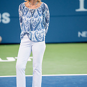 August 22, 2016, New Haven, Connecticut: <br /> Tournament Director Anne Worcester looks on during the Opening Ceremonies on Day 4 of the 2016 Connecticut Open at the Yale University Tennis Center on Monday August  22, 2016 in New Haven, Connecticut. <br /> (Photo by Billie Weiss/Connecticut Open)