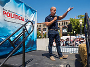 09 AUGUST 2019 - DES MOINES, IOWA: JOHN DELANEY speaks at the Iowa State Fair. Delaney, a former Maryland Congessman, is running for the Democratic nomination for the US Presidency in 2020. He spoke at the Des Moines Register Political Soapbox at the Iowa State Fair Friday. Iowa hosts the the first election event of the presidential election cycle. The Iowa Caucuses will be on Feb. 3, 2020.        PHOTO BY JACK KURTZ