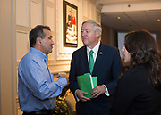 Pete Souza talks with President Nellis and Liz Pahl before the President's Reception in Chaddock Alumni Room on September 19, 2017.