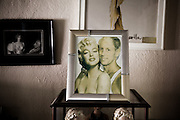Los Angeles, April 7 2012 - In his house, Greg Schreiner's collection of items related to Marilyn Monroe. Photomontage picturing him with Marilyn.