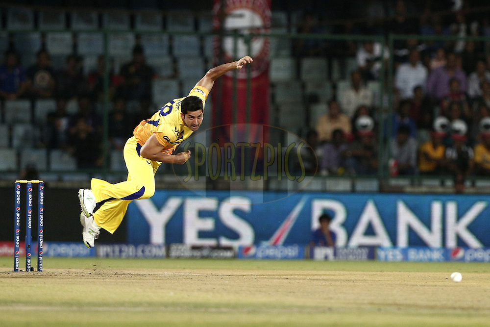 Mohit Sharma of The Chennai Superkings during match 26 of the Pepsi Indian Premier League Season 2014 between the Delhi Daredevils and the Chennai Superkings held at the Ferozeshah Kotla cricket stadium, Delhi, India on the 5th May  2014<br /> <br /> Photo by Deepak Malik / IPL / SPORTZPICS<br /> <br /> <br /> <br /> Image use subject to terms and conditions which can be found here:  http://sportzpics.photoshelter.com/gallery/Pepsi-IPL-Image-terms-and-conditions/G00004VW1IVJ.gB0/C0000TScjhBM6ikg